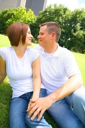 happy couple embracing outdoor Stock Photo - 3203497