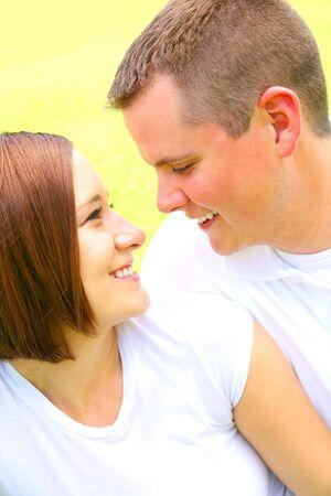 happy caucasian couple in love, portrait outdoor Stock Photo - 3217346