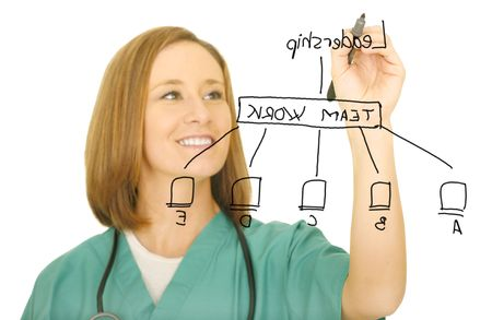 a nurse drawing leadership network flow. isolated on white. focus on the pen only