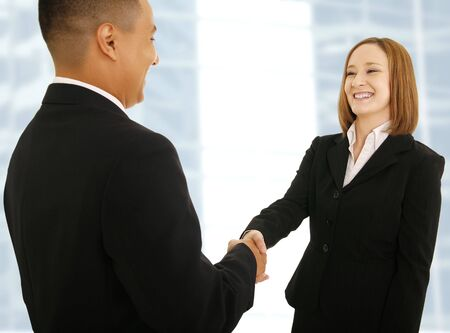 two business people shake hand. concept for business deal or business team Archivio Fotografico