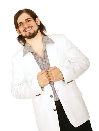 shot of isolated very happy young man in casual coat Stok Fotoğraf