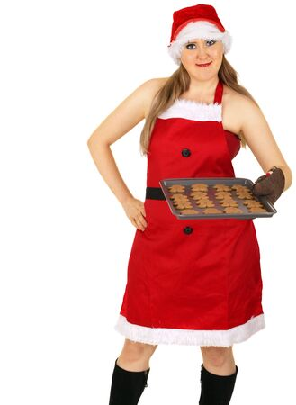 mrs santa claus just finished baking gingerbread cookies photo