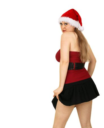 mrs sexy santa claus posing seductive move againts white background Imagens