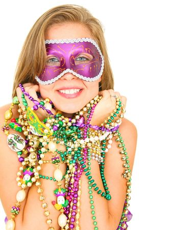 colorful mardi gras queen smiling and holding a lot of beads. isolated on white blackground photo
