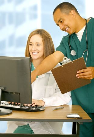 two medical staff working together in modern office. concept for medical team
