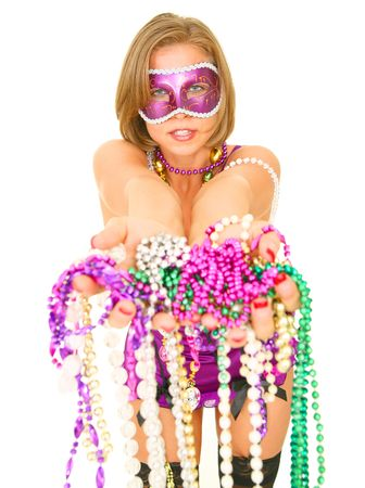 colorful mardi gras queen offering a lot of beads. isolated on white blackground