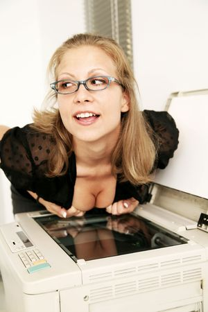 sexy secretary make a copy of her breast