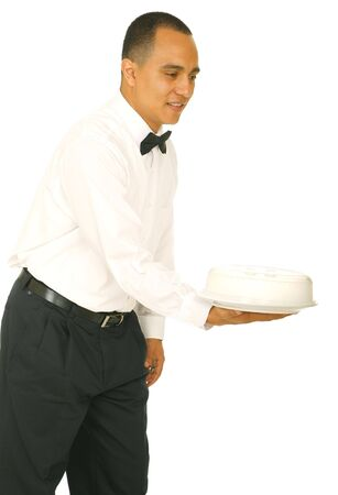 a waiter holding and offering food tray. isolated on white photo