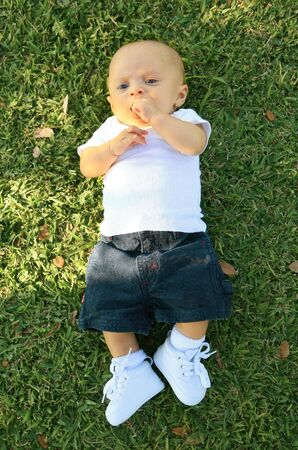 three months old: cute three months old caucasian baby laying on grass Stock Photo
