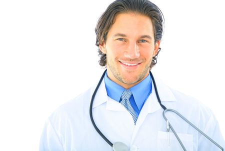 handsome and attractive young doctor smiling. isolated on white Stock Photo
