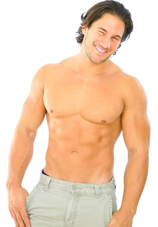 isolated topless caucasian man give a wink to viewer Stock Photo