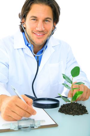 happy doctor writing report on testing subject Stock Photo - 4080364