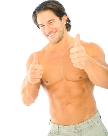 topless young caucasian man give thumb up and a wink to viewer