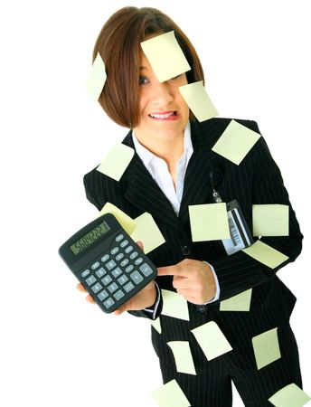 stressed female accountant showing calculator has many empty post it note on her suit
