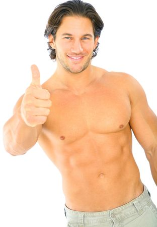 handsome caucasian male topless give thumb up Stock Photo