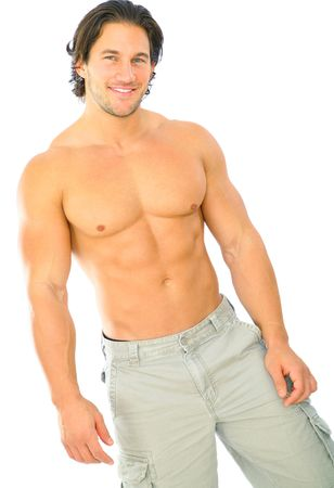 handsome and attractive caucasian male topless Stock Photo