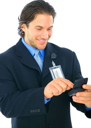 pager: happy businessman using pager. isolated on white