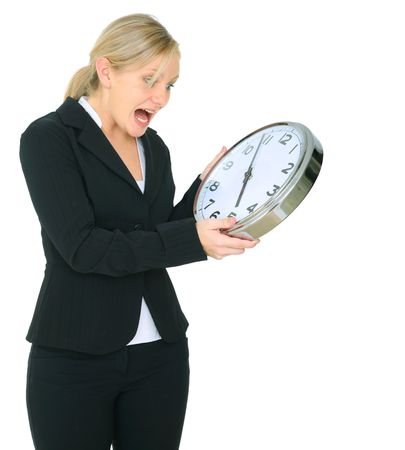 stressed female caucasian yell at clock. isolated on white Archivio Fotografico