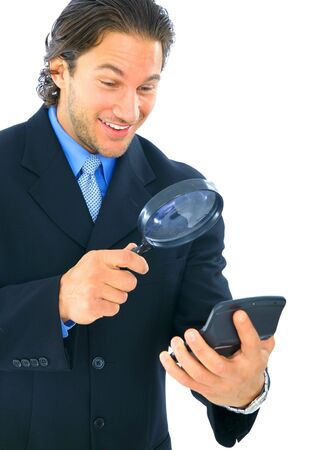happy young caucasian accountant looking at calculator Stock Photo - 4327548