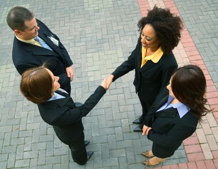 group of diversity business people have a business deal. caucasian, african american, asian photo