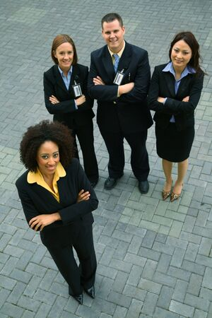 group of diversity business people standing outdoor. concept for success and diversity photo