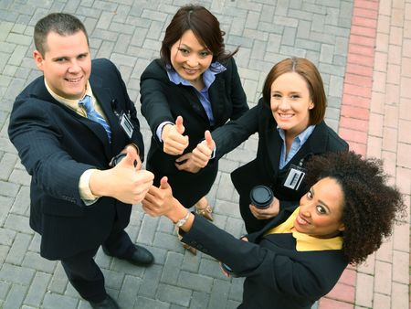group of diversity business people showing success. caucasian, african american, asian Stock Photo
