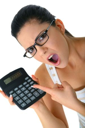 angry woman pointing at calculator showing minus number. concept for bad economy or finance