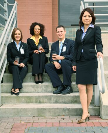 group of diversity business people. caucasian, african american, asian photo