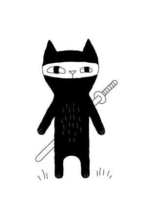cute kitten: Monochrome illustration with ninja cat and the sword for prints, posters, t-shirts, books, covers, cards, invitations. Funny cartoon animal character. Creative black cat concept. Illustration