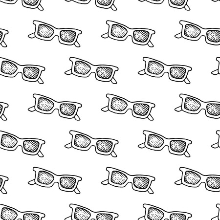 retro patterns: Cute black and white seamless pattern with hand drawn ink sunglasses.