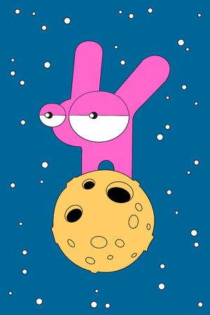 Cartoon rabbit illustration with space rabbit on the Moon. Cute vector colorful rabbit illustration. Lovely doodle rabbit illustration for prints, posters, t-shirts, covers,