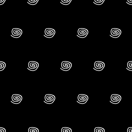 Abstract cute pattern with hand drawn spirals. Trendy vector black and white cute pattern. Seamless monochrome doodle cute pattern for fabric, wallpapers, wrapping paper, cards and web backgrounds. Illustration