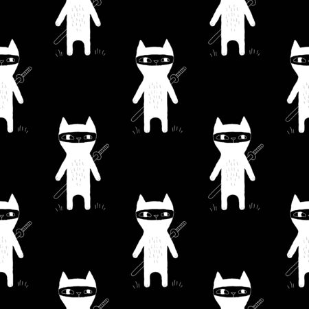 wrapping animal: Sweet animal pattern with hand drawn ninja cats. Cute vector black and white animal pattern. Seamless monochrome animal pattern for fabric, wallpapers, wrapping paper, cards and web Illustration