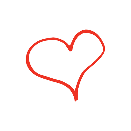 Linear cartoon hand drawn heart. Cute vector red heart doodle. Isolated outline heart object on white background.