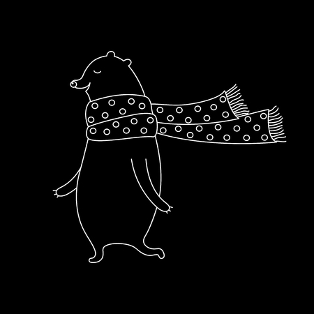 Linear cartoon bear illustration with sweet bear in scarf. Cute vector black and white bear illustration. Doodle monochrome bear illustration for prints, posters, t-shirts and cards. Illustration