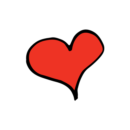 Cheerful cartoon hand drawn heart illustration. Cute doodle red heart illustration for any project. Isolated vector heart illustration on white background.
