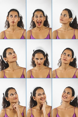 Collage of young woman face expressions composite isolated on white background photo