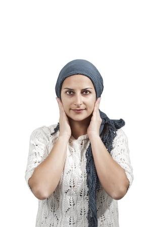 Female with Blue Veil Smile Stock Photo - 15158237