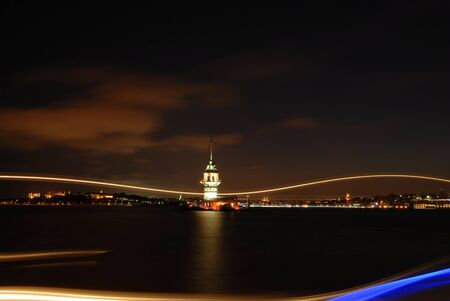 istanbul night: A Beautiful Landmark of Istanbul The Maiden Stock Photo