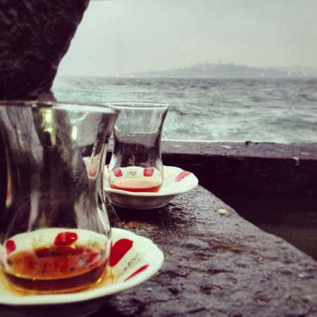 ferryboat: Rainy day in istanbul bophorus  Stock Photo