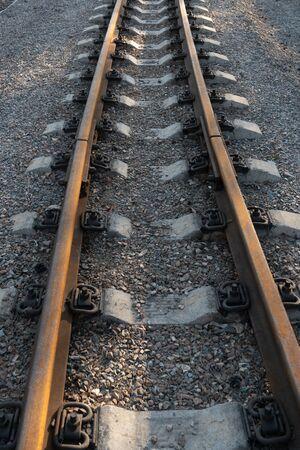 Railway rails close up top view.