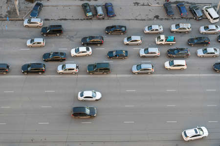 Cars Driving on the City Road Banco de Imagens