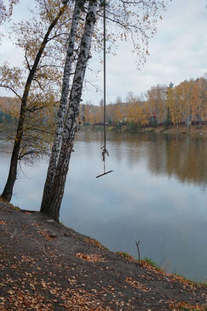 Old swing on the background of the lake