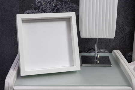 White frame in the interior. Mock-up for designers.