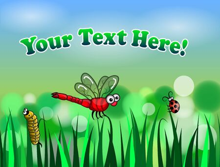 green garden with various types of insects Illustration