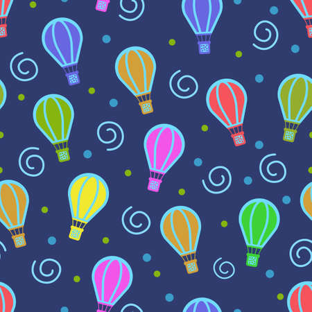 Air balloon design with various colors that means adventure, can be used for fabrics, textiles, wrapping paper, tablecloths, curtain fabrics, clothing etc.