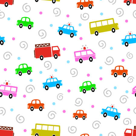 Design patterns of various vehicles, sedans, fire truck, ambulances, school buses, police cars, can be used for fabrics, textiles, wrapping paper, tablecloths, curtain fabrics, clothing etc.