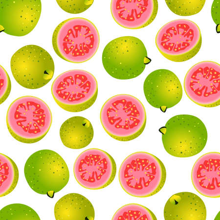 guava pattern design with color gradient, can be used for fabric, textile, wrapping paper, table cloth, curtain fabric and etc. Ilustrace