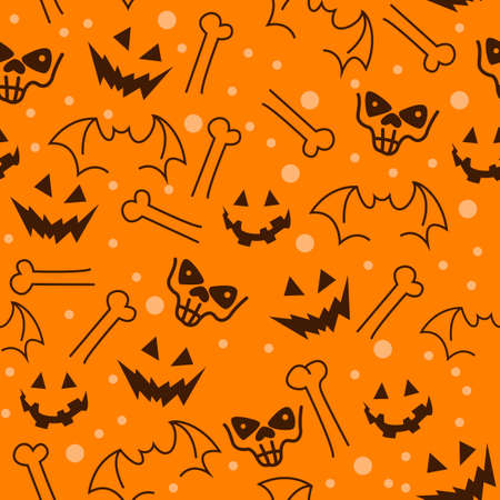 Seamless Halloween pattern. with pumpkins, skulls, bats and bones. Vectores