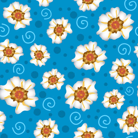 purslane flower pattern design with a blue background with dots, can be used for fabrics, textiles, wrapping paper, tablecloths, curtains, clothing etc.